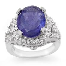 Genuine 8.15 ctw Tanzanite & Diamond Ring 14K White Gold - 11781-#282M2G