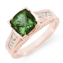 Natural 3.0 ctw Green Tourmaline & Diamond Ring 14K Rose Gold - 11770-#80V3A