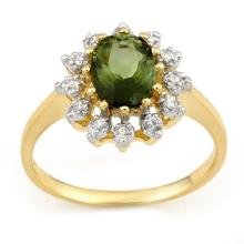 Natural 1.62 ctw Green Tourmaline & Diamond Ring 10K Yellow Gold - 11074-#32Y2V