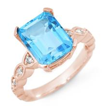 Genuine 5.25 ctw Blue Topaz & Diamond Ring 10K Rose Gold - 10583-#31T2Z
