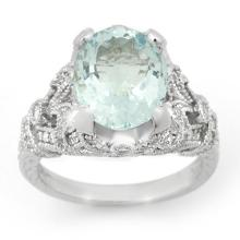 Natural 6.10 ctw Aquamarine & Diamond Ring 14K White Gold - 14518-#136F2M