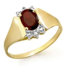 Natural 1.03 ctw Garnet & Diamond Ring 10K Yellow Gold - 12886-#13K8T