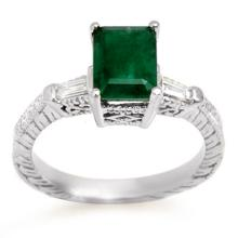 Genuine 2.45 ctw Emerald & Diamond Ring 14K White Gold - 11009-#42M2G