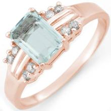 Natural 1.41 ctw Aquamarine & Diamond Ring 18K Rose Gold - 10588-#33V8A