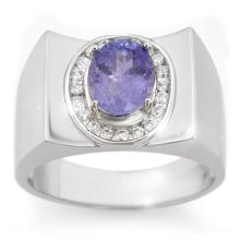 Genuine 2.83 ctw Tanzanite & Diamond Men's Ring 10K White Gold - 14475-#76X8Y