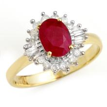 Genuine 1.55 ctw Ruby & Diamond Ring 10K Yellow Gold - 13205-#31X7Y