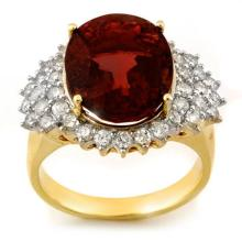 14K Yellow Gold Jewelry 9.18 ctw Pink Tourmaline & Diamond Ring - SKU#U87U9- 1457