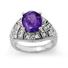 14K White Gold Jewelry 4.15 ctw Tanzanite & Diamond Ring - SKU#U100N3- 9730
