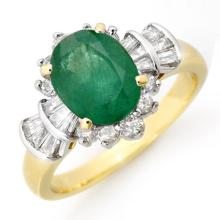 18K Yellow Gold Jewelry 2.01 ctw Emerald & Diamond Ring - SKU#U46M8- 90695- 18K