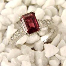 18K White Gold Jewelry 2.25 ctw Rubellite & Diamond Ring - SKU#U44K7- 99438- 18K