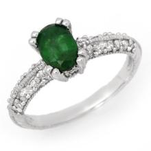 18K White Gold Jewelry 2.0 ctw Emerald & Diamond Ring - SKU#U38A6- 99419- 18K