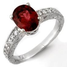 14K White Gold Jewelry 2.68 ctw Rubellite & Diamond Ring - SKU#U29J7- 1716