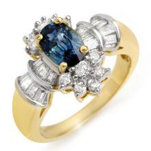 18K Yellow Gold Jewelry 2.25 ctw Blue Sapphire & Diamond Ring - SKU#U49N3- 1300- 18K