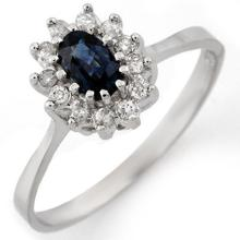10K White Gold Jewelry 0.60 ctw Blue Sapphire & Diamond Ring - SKU#U11U4- 1634- 10K