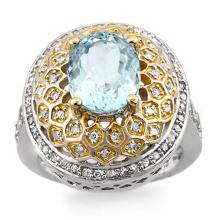 18K 2Tone Gold Jewelry 4.05 ctw Aquamarine & Diamond Ring - SKU#U91L8- 1684- 18K
