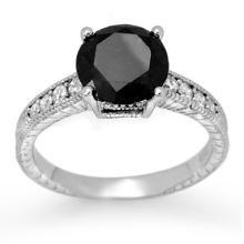 10K White Gold Jewelry 3.0 ctw White & Black Diamond Solitaire Ring - SKU#U72J6- 2122- 10K