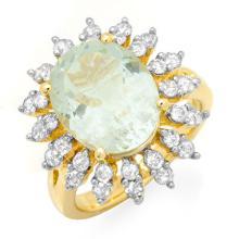 18K Yellow Gold Jewelry 6.08 ctw Aquamarine & Diamond Ring - SKU#U102N8- 99328- 18K