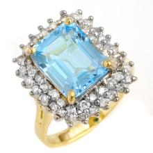14K Yellow Gold Jewelry 5.1 ctw Blue Topaz & Diamond Ring - SKU#U43P4- 90601