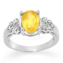 10K White Gold Jewelry 3.05 ctw Yellow Sapphire & Diamond Ring - SKU#U39F1- 99617- 10K