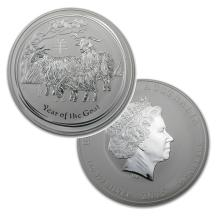 1 Kilo Australian Fine Silver Coin - Year of the Goat - BU  - REF#LSY8605