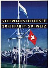 Poster by Otto Baumberger - Vierwaldstättersee Schiffahrt-Schweiz