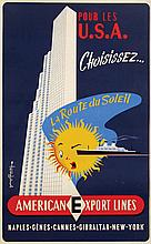 Poster by George Renevey - American Export Lines pour les U.S.A.