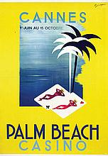 Poster by  Illegible signature - Cannes, Palm Beach Casino