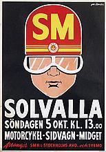 Poster by Gustav Egron Leander - SM Solvalla Motorcykel-Sidvagn-Midget Stockholm