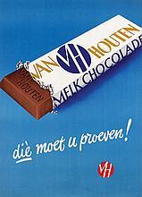Poster by  Frans Mettes (attr. 1909-1994) - Van Houten Melk Chocolade