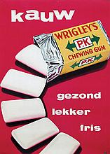 Poster by  Frans Mettes (attr. 1909-1994) - P.K. Wrigley's kauw gezond lekker fris