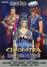 Poster by  Illegible signature - Movie: Elizabeth Taylor, Richard Burton and Rex Harrison in