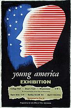 Poster by Frederic H. K. Henrion - young america Exhibition