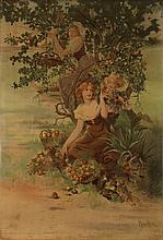 Poster by Alphonse Mucha - without text, (Les Fruits)