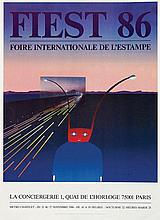 Poster by Jean-Michel Folon - Fiest 86 Foirte int. de l'estampe