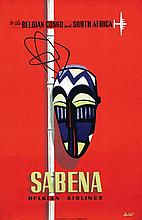 Poster by  Dohet (Commerciale Publicité) - Sabena to the Belgian Congo and South Africa