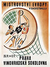 Poster by  AMS - European Championship Basketball Praque (Hungarian)