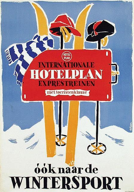 Posters (2) by Jan de Haan - Hotelplan exprestreinen naar de Wintersport