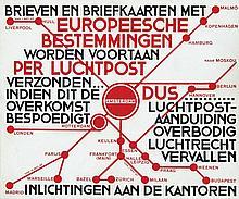 Poster by Nicolaas P. de Koo - Brieven en briefkaarten met Europeesche bestemmingen...