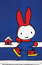 Poster by Dick Bruna - Pampers Nijntje (Miffi) on skates
