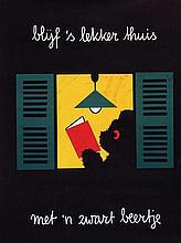 Poster by Dick Bruna - blijf 's lekker thuis met 'n zwart beertje