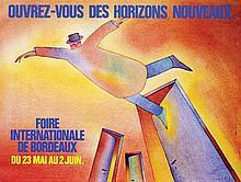 Poster by Jean-Michel Folon - Ouvrez-vous des horizons nouveaux Foire Int. de Bordeaux
