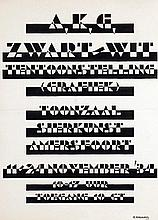 Poster by Gerrit Adriaans - A.K.G. (Amersfoorts Kunstenaars Genootschap) Zwart/wit tentoonstelling (grafiek) Amersfoort