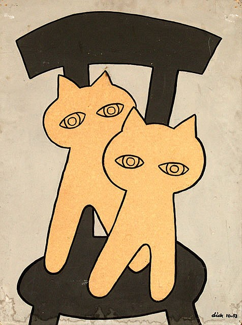 Poster by Dick Bruna - without text (cats on chair)