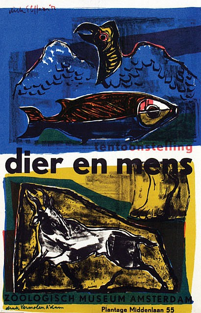 Posters (2) by Dick Elffers - tentoonstelling dier en mens