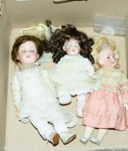 GRP inc Three German bisque dolls: (1) character