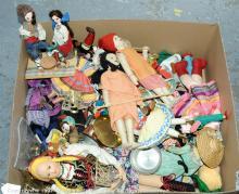 QTY inc Dolls, 21 x wooden peg-type; brass stove