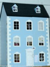 Modern doll's house, Georgian style, pale blue