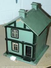 Green wooden Victorian Doll's cottage, glazed