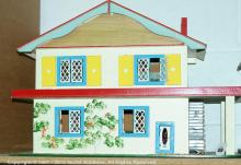 Gee Bees doll's house, with balcony, tinplate