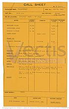 GOLDFINGER (1964) Call Sheet. Folded. Artistesí